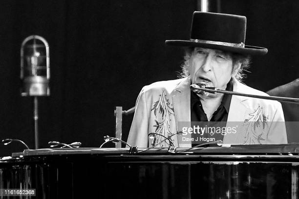 Editors note image converted to black and white Bob Dylan performs as part of a double bill with Neil Young at Hyde Park on July 12 2019 in London...