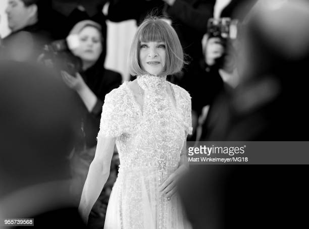 [Editor's Note Image Has Been Converted to Black and White] Met Gala Chairperson Anna Wintour attends the Heavenly Bodies Fashion The Catholic...