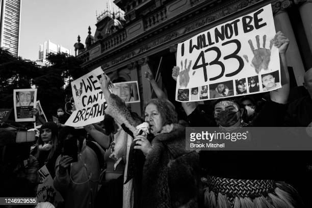 [Editors Note Image has been converted to black and white] Protesters lead a chant at Town Hall on June 06 2020 in Sydney Australia Events across...
