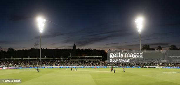 [Editors note Image is a panoramic composite] A general view during the T20 game between Australia and Pakistan at Manuka Oval on November 05 2019 in...