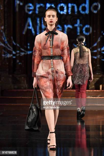 [Editor's Note Image may contain nudity] A model walks the runway during the Fernando Alberto Atelier presentation at New York Fashion Week Powered...