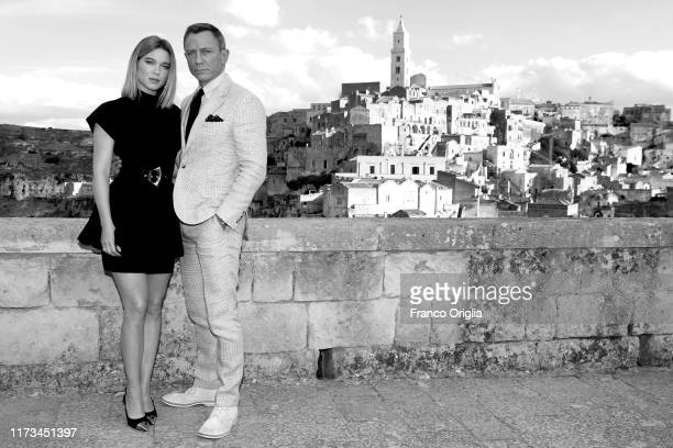 [Editor's Note Image was converted to black and white] Actress Léa Seydoux and actor Daniel Craig pose as they arrive on set of the James Bond last...