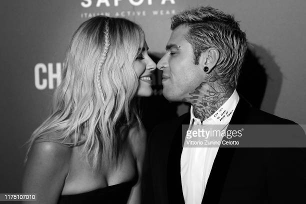 [Editor's Note Image was converted to black and white] Chiara Ferragni and Fedez attend the Chiara Ferragni Unposted premiere in Milan on September...