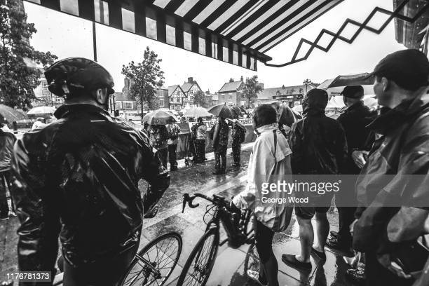 Editor's Note: Image was converted to black and white] Fans / Public / Rain / during the 92nd UCI Road World Championships 2019, Men U23 Individual...
