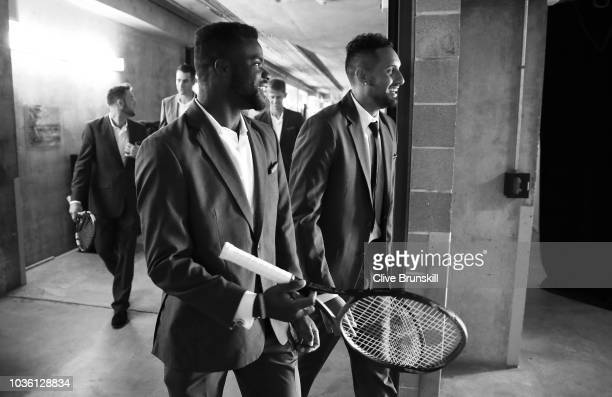 Editors Note Image was converted to Black and White Frances Tiafoe and Nick Kyrgios of Team Rest of the World walk into postion backstage for the...