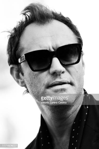 [Editor's Note Image was converted to black and white] Jude Law walks the red carpet ahead of The New Pope screening during the 76th Venice Film...