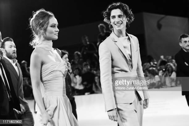 [Editor's Note Image was converted to black and white] LilyRose Depp and Timothee Chalamet attend The King red carpet during the 76th Venice Film...