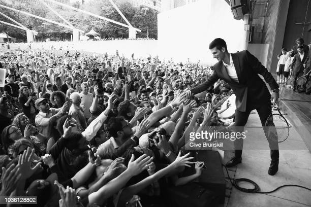 Editors Note Image was converted to Black and White Novak Djokovic of Team Europe meets the crowd at the official welcome ceremony prior to the Laver...