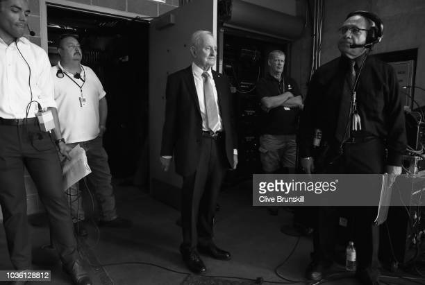 Editors Note Image was converted to Black and White Rod Laver waits backstage to be unveiled at the official welcome ceremony prior to the Laver Cup...