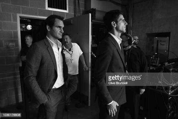 Editors Note Image was converted to Black and White Roger Federer and Novak Djokovic of Team Europe wait backstage to be unveiled at the official...