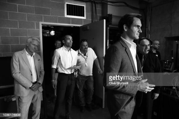Editors Note Image was converted to Black and White Roger Federer of Team Europe and his captain Bjorn Borg wait backstage to be unveiled at the...
