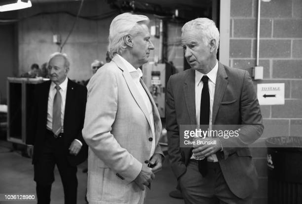 Editors Note Image was converted to Black and White Team Europe captain Bjorn Borg talks with Team Rest of the World captain John McEnroe backstage...