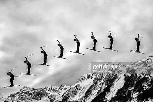 [Editors note Multiple exposure] A competitor in the Freestyle Skiing Women's Ski Slopestyle Qualification on day four of the Sochi 2014 Winter...