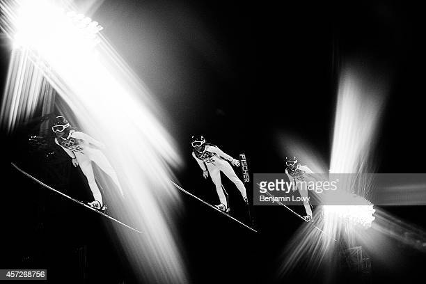 [Editors note Multiple exposure] Jessica Jerome of the United States during the Ladies' Normal Hill Individual first round on day 4 of the Sochi 2014...