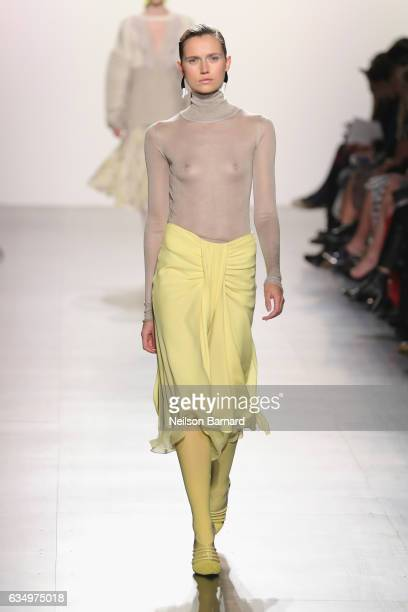 [Editor's note This image contains nudity] A model walks the runway for the Prabal Gurung collection during New York Fashion Week The Shows at...