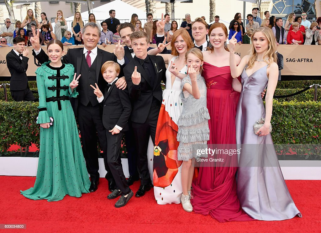 [Editor's note: This image contains profanity.] (L-R) Actors Samantha Isler, Viggo Mortensen, Matt Ross (back), Shree Crooks (front), Nicholas Hamilton (back), Charlie Shotwell (front), Trin Miller, George MacKay, Annalise Basso, and Erin Moriarty attend the 23rd Annual Screen Actors Guild Awards at The Shrine Expo Hall on January 29, 2017 in Los Angeles, California.