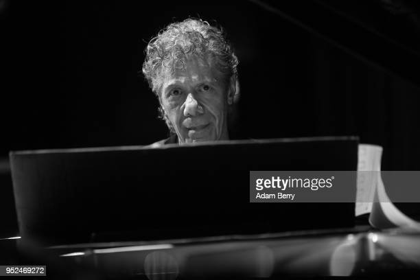 Editor's Note This image has been converted to black and white Chick Corea performs during a concert in the ApostelPaulusKirche church on April 28...
