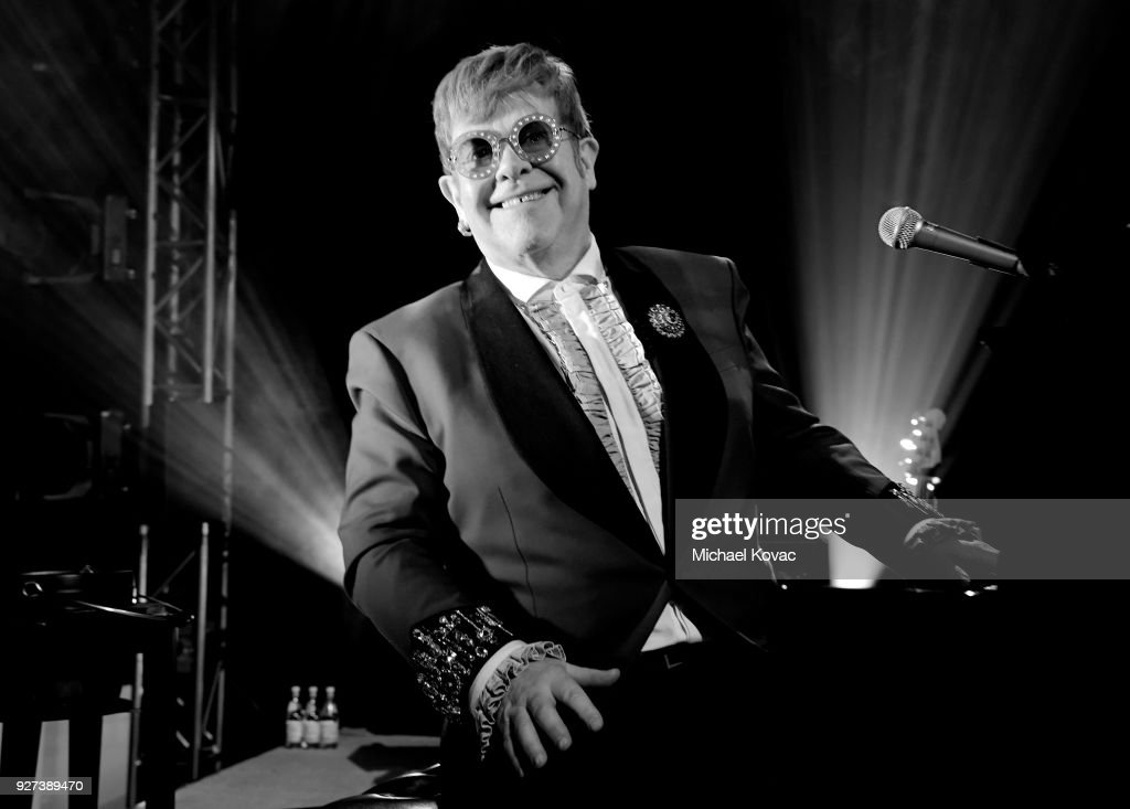 [Editor's note: This image was converted to black and white.] Sir Elton John performs onstage during the 26th annual Elton John AIDS Foundation Academy Awards Viewing Party sponsored by Bulgari, celebrating EJAF and the 90th Academy Awards at The City of West Hollywood Park on March 4, 2018 in West Hollywood, California.