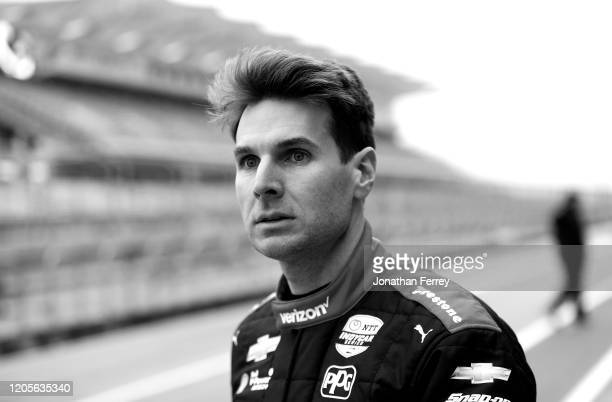 Editor's Note This image was converted to black and white Will Power driver of the Verizon Team Penske Chevrolet prepares to drive during NTT IndyCar...