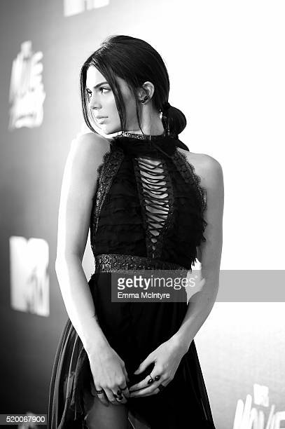 [Editor's note This image was shot in black and white] Model Kendall Jenner attends the 2016 MTV Movie Awards at Warner Bros Studios on April 9 2016...
