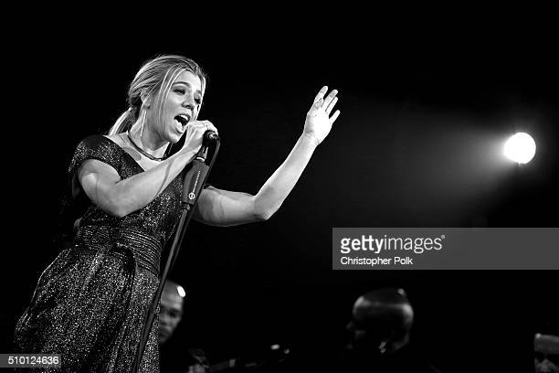 [Editor's Note This image was shot in black and white] Singer Kimberly Perry of The Band Perry performs onstage during the 2016 MusiCares Person of...