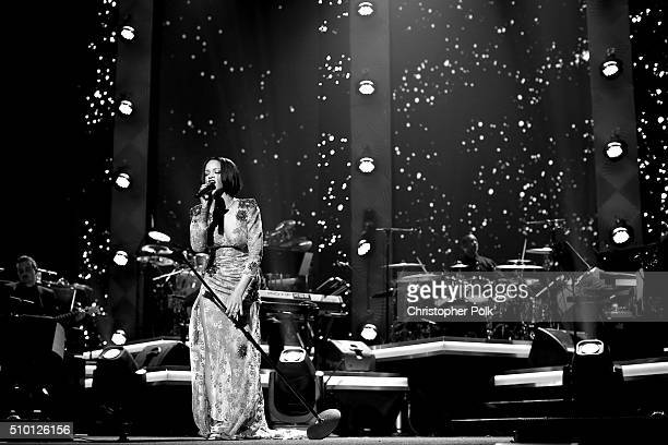 [Editor's note This image was shot in black and white] Singer Rihanna performs onstage during the 2016 MusiCares Person of the Year honoring Lionel...