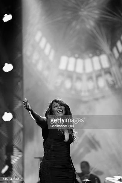 [Editor's note This image was shot in black and white] Singer Yolanda Adams performs onstage during the 2016 MusiCares Person of the Year honoring...