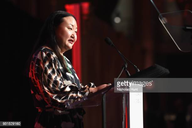 Editors of T The New York Times Style Magazine Hanya Yanagihara speaks onstage during the Ellie Awards 2018 on March 13 2018 in New York City