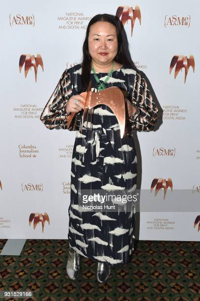 Editors of T The New York Times Style Magazine Hanya Yanagihara poses with an award during the Ellie Awards 2018 on March 13 2018 in New York City