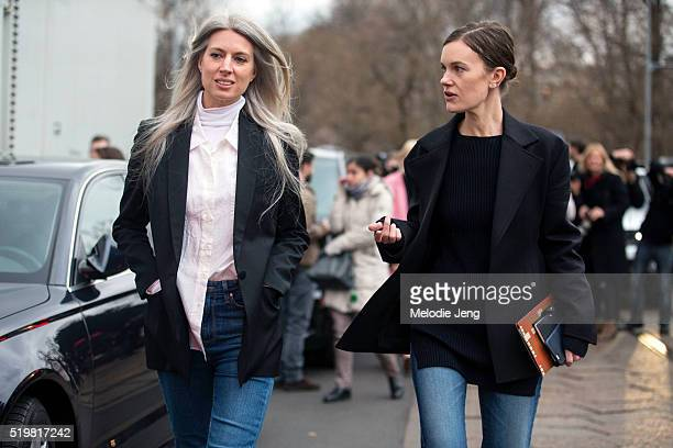 Editors Sarah Harris and Jo Ellison outside the Tods show during the Milan Fashion Week Fall/Winter 2016/17 on February 26 2016 in Milan Italy