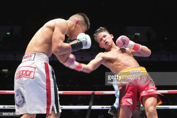 Edivaldo Ortega of Mexico and Jhack Tepora of the Phillipines in action for the WBA World Title on July 15 2018 in Kuala Lumpur Malaysia