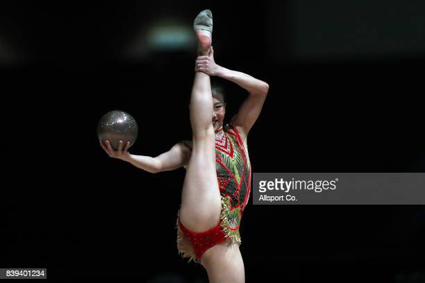 Edlyn Ho Zen Yee of Singapore competes during the Qualifying and Team Final Rhythmic Gymnastic Competition at the MITEC as part of the 2017 SEA Games...