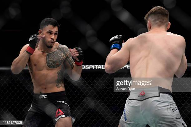 Edmen Shahbazyan of the United States fights against Brad Tavares of the United States in the Lightweight bout during UFC 244 at Madison Square...