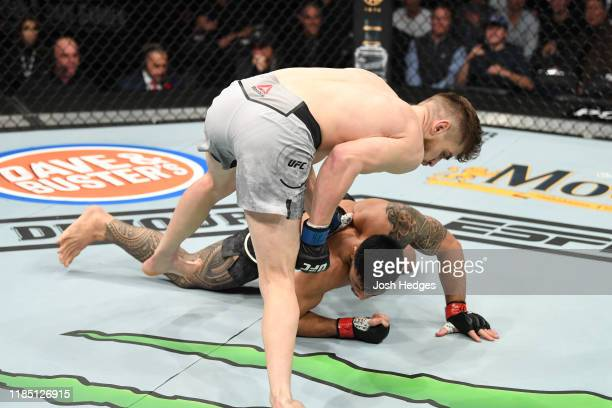 Edmen Shahbazyan punches Brad Tavares in their middleweight bout during the UFC 244 event at Madison Square Garden on November 02, 2019 in New York...