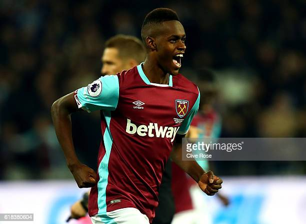 Edmilson Fernandes of West Ham United celebrates scoring his sides second goal during the EFL Cup fourth round match between West Ham United and...