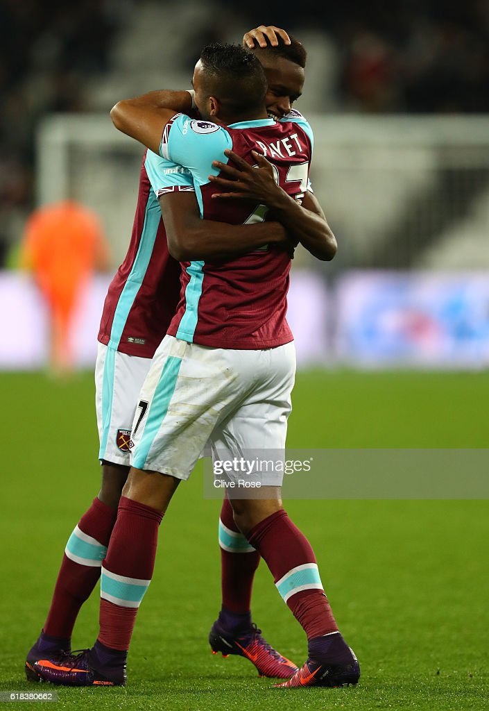 Edmilson Fernandes of West Ham United (L) celebrates scoring his sides second goal with Dimitri Payet of West Ham United (R) during the EFL Cup fourth round match between West Ham United and Chelsea at The London Stadium on October 26, 2016 in London, England.
