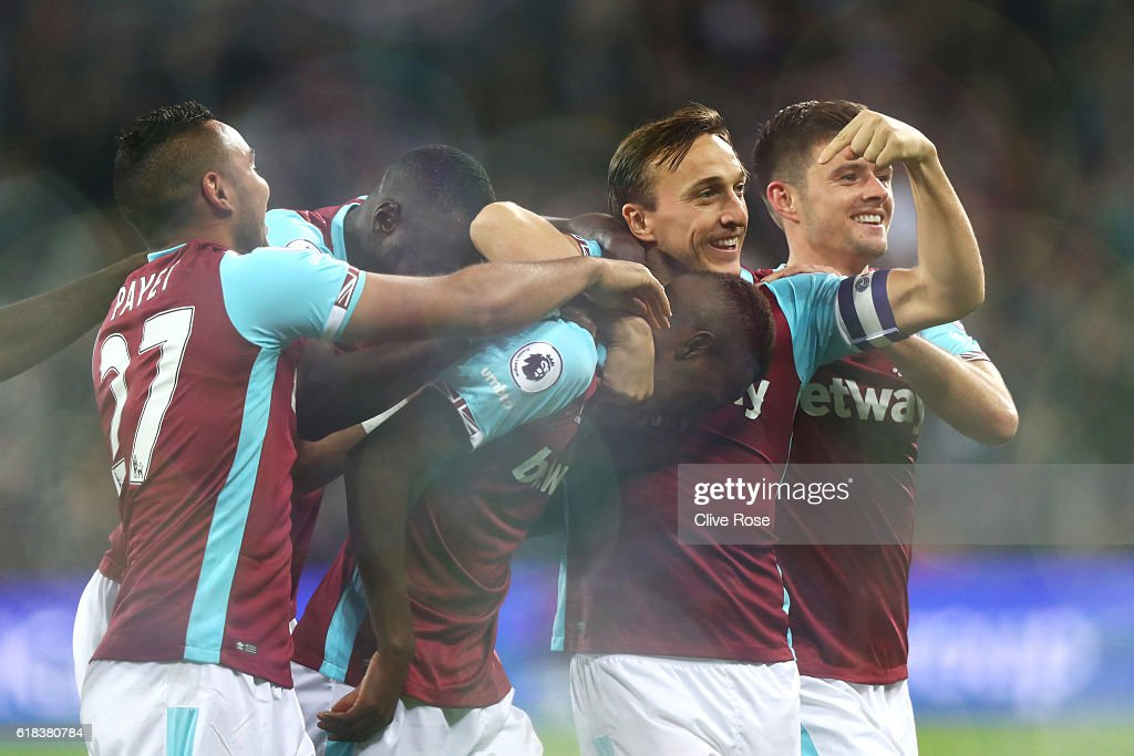 Edmilson Fernandes of West Ham United (C) celebrates scoring his sides second goal with his team mates during the EFL Cup fourth round match between West Ham United and Chelsea at The London Stadium on October 26, 2016 in London, England.