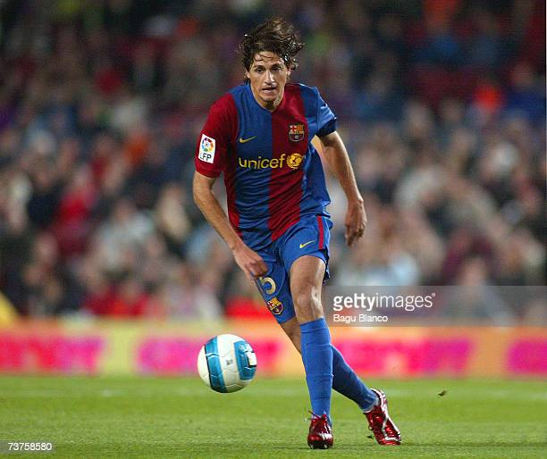 Edmilson of Barcelona and competes during the match between FC Barcelona and Deportivo La Coruna of La Liga at the Camp Nou stadium on March 31 2007...