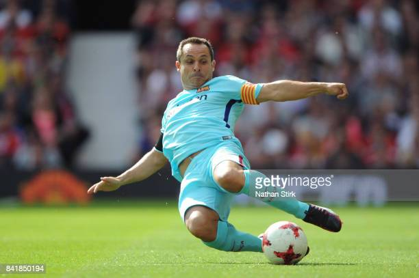Edmilson of Barcelona Legends in action during the match between Manchester United Legends and FC Barcelona Legends at Old Trafford on September 2...