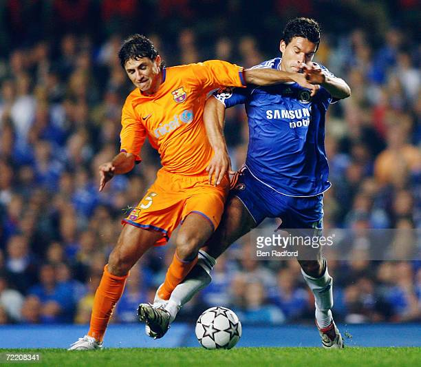 Edmilson of Barcelona tackles Michael Ballack of Chelsea during the UEFA Champions League Group A match between Chelsea and Barcelona at Stamford...