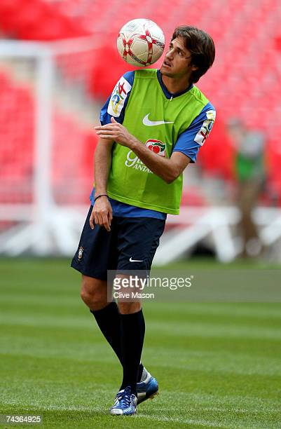 Edmilson of Brazil in action during a training session ahead of the international friendly match between England and Brazil at Wembley Stadium on May...