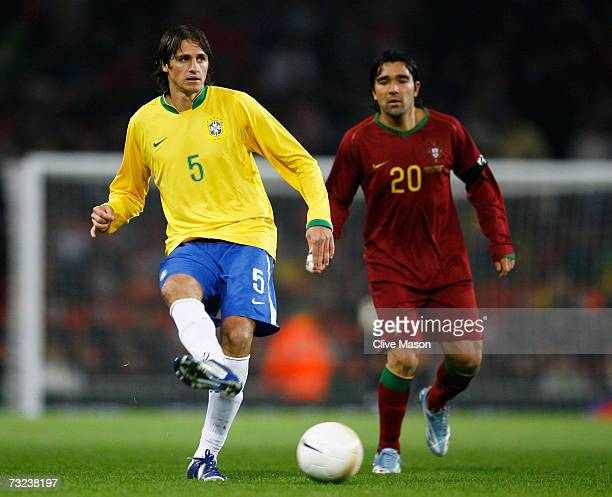 Edmilson of Brazil in action during the International friendly match between Brazil and Portugal at the Emirates Stadium on February 6 2006 in London...