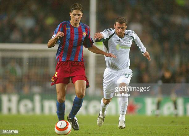 Edmilson of FC Barcelona and Dimitrios Papadopoulos of Panathinaikos in action during the UEFA Champions League group C match between FC Barcelona...