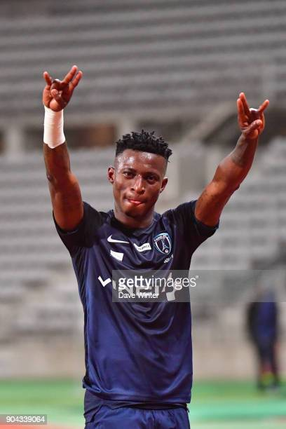 Edmond Akichi of Paris FC celebrates after his side wins the Ligue 2 match between Paris FC and Bourg en Bresse at Stade Charlety on January 12 2018...