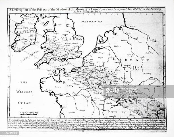 Edmond Halley's Solar Eclipse chart, showing the path of the Moon's shadow over Europe, England and Ireland during the eclipse 1724. Edmond Halley an...