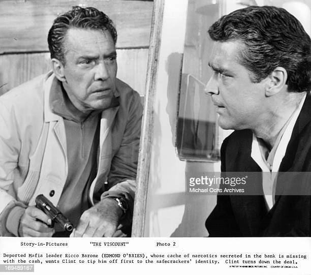 Edmond O'Brien talks to Kerwin Mathews in a scene from the film 'The Viscount' 1967