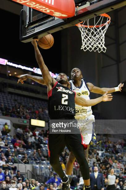 Edmond Summer of the Fort Wayne Mad Ants battles John Gillon of the Erie Bayhawks in the 2018 Eastern Conference semifinals of the NBA G League on...