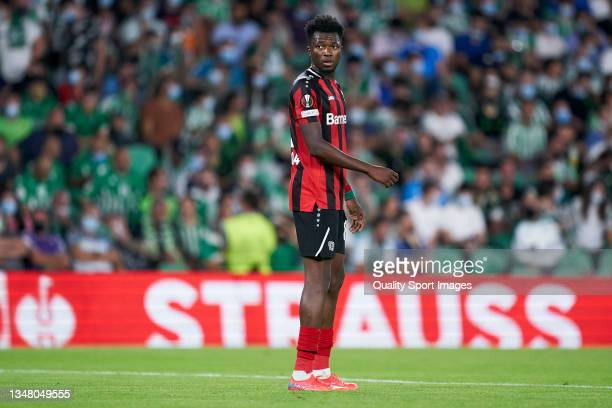 Edmond Tapsoba of Bayer Leverkusen looks on during the UEFA Europa League group G match between Real Betis and Bayer Leverkusen at Estadio Benito...