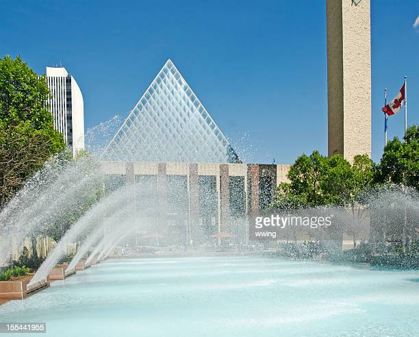 Edmonton City Hall And Water Fountains