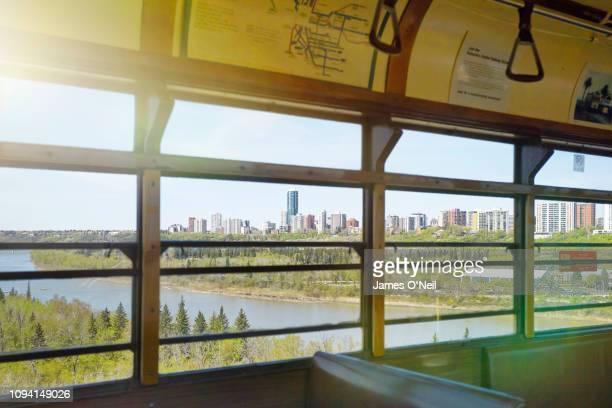 Edmonton city seen from tram window in summer